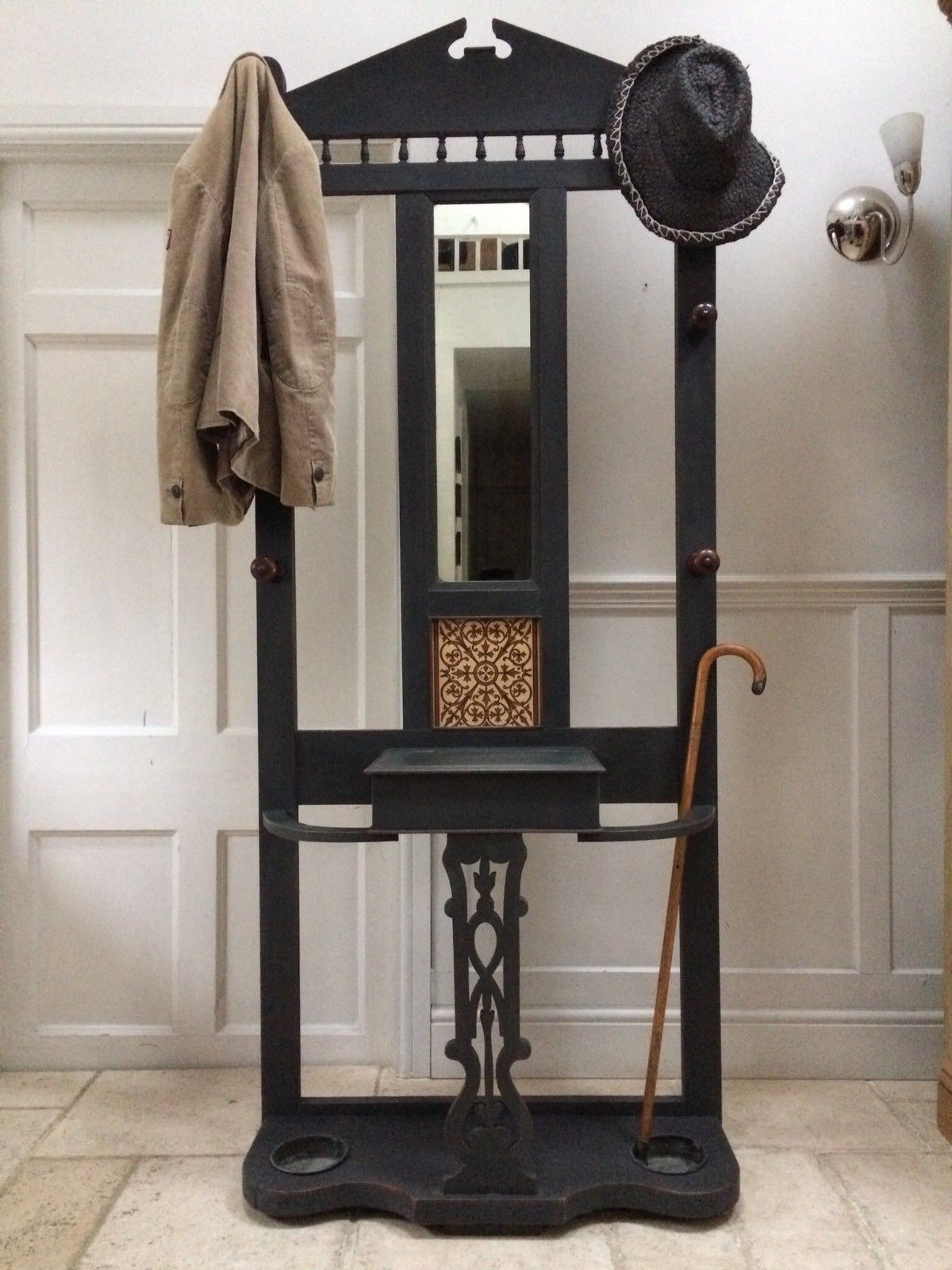 Antique Black Painted Hall Stand Coat Hat Rack Hall Table
