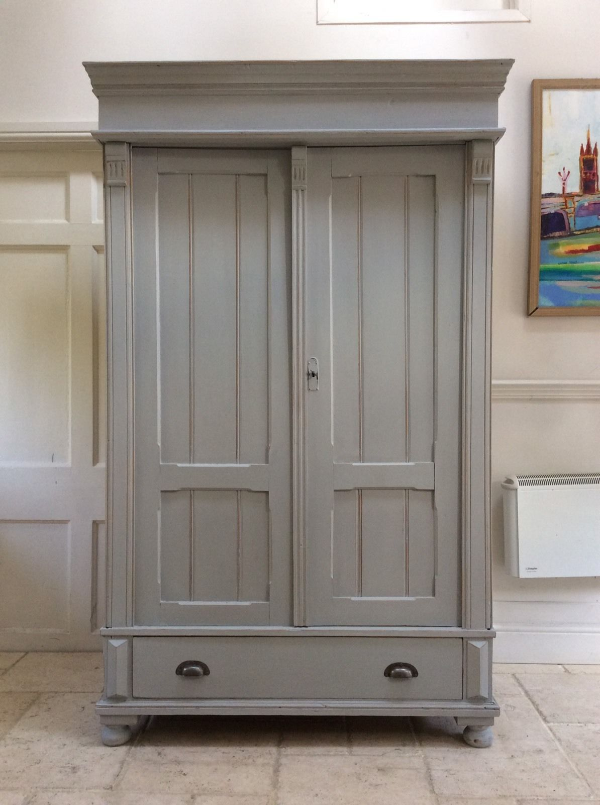 reputable site 6871a 46d08 Antique French Gustavian Style Painted Grey Wardrobe Solid Pine Hall  Cupboard