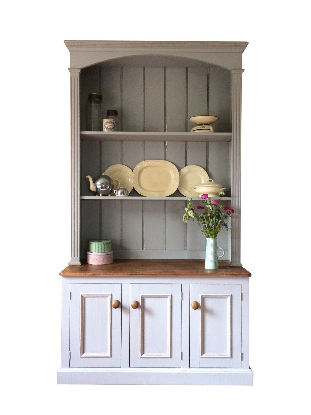 Grey Painted Solid Pine Bookcase Linen Welsh Kitchen ...