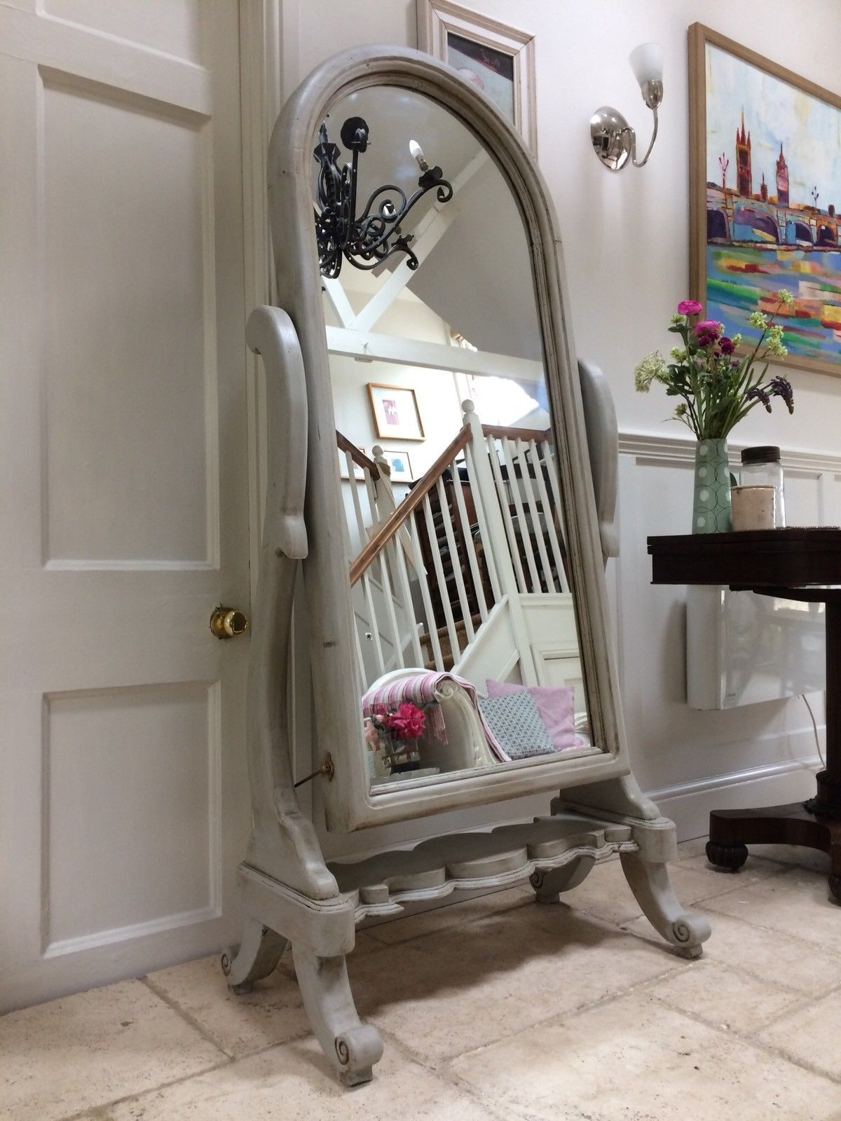 Large French Antique Style Cheval Swivel Mirror Painted