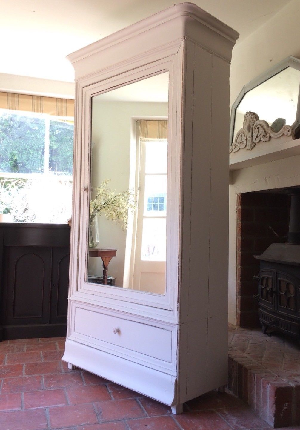 Tall Antique French Painted Old White Armoire Hall Linen