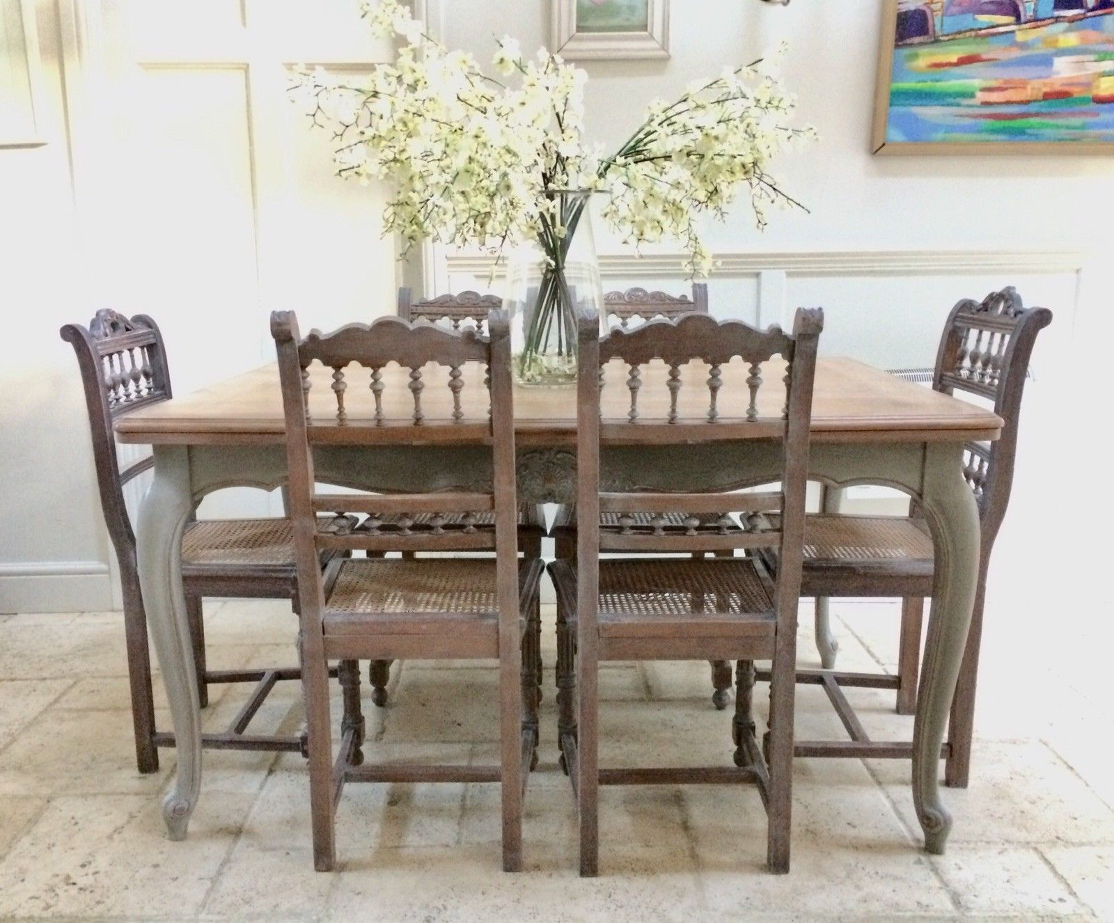 Vintage Painted French Limed Oak Extending Dining Table U0026 8 Victorian Chairs